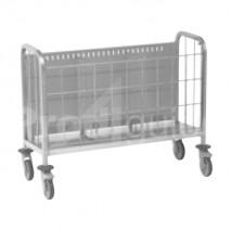 Chariot inox porte assiettes avec grille avant escamotable