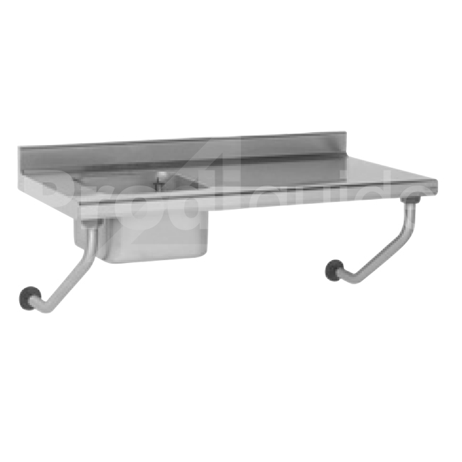 Table suspendue inox avec vier sans robinet prodiguide for Table evier inox professionnel