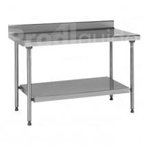 Table inox à dosseret avec étagère basse